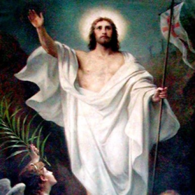 Painting of Jesus resurrected from the dead