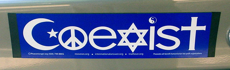 "Coexist bumper sticker where religious symbols are used to spell the word ""Coexist"""