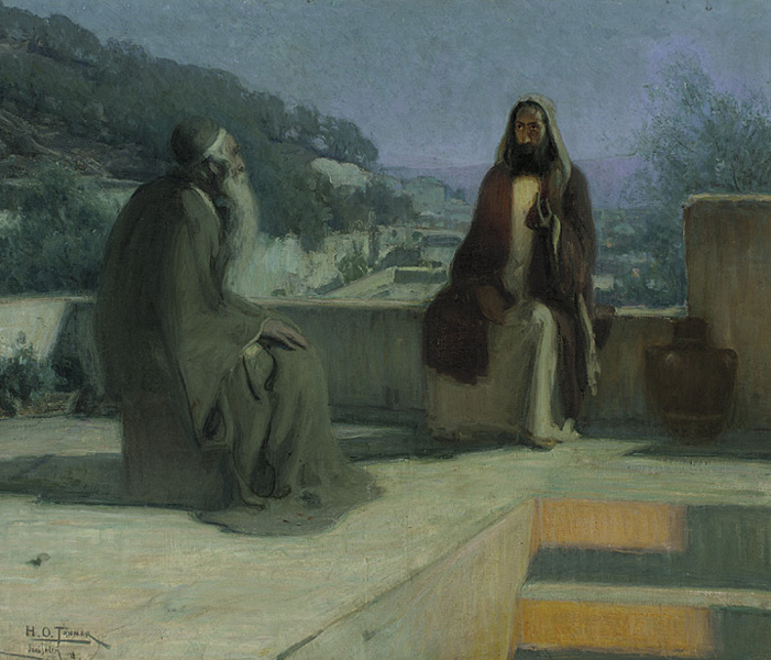 Painting of Jesus and Nicodemus conversing on a roof top