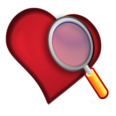 Examine heart with magnifying glass
