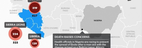 Map of Ebola outbreak with casualty numbers