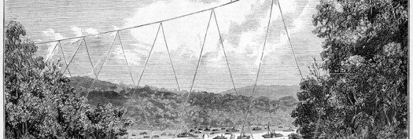 black and white illustration of tightrope walker high about a river with boats below him and onlookers from the riverbank