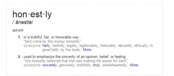 Dictionary definition of honestly