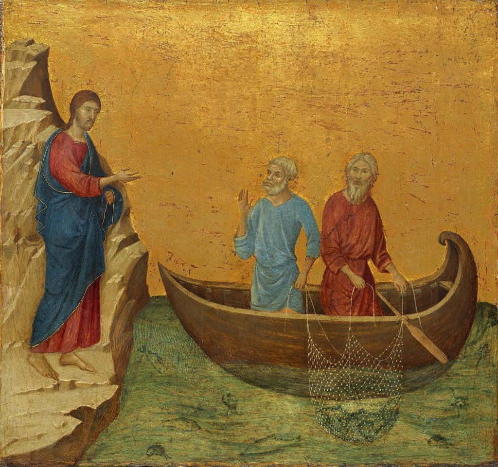 Painting of Jesus speaking to Peter in his boat. His net shows very few fish in it.