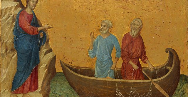 Painting of Jesus talking to Simon Peter in a boat